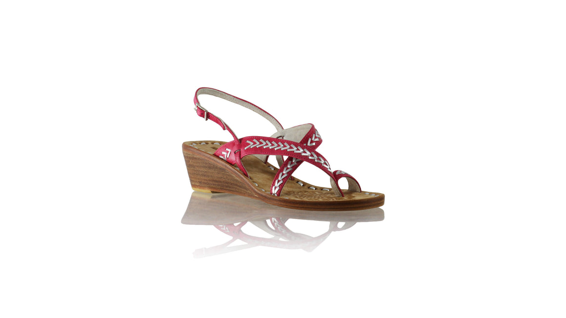 Leather-shoes-Romance withstrap 35mm Wedges - Fuschia & Silver-sandals wedges-NILUH DJELANTIK-NILUH DJELANTIK