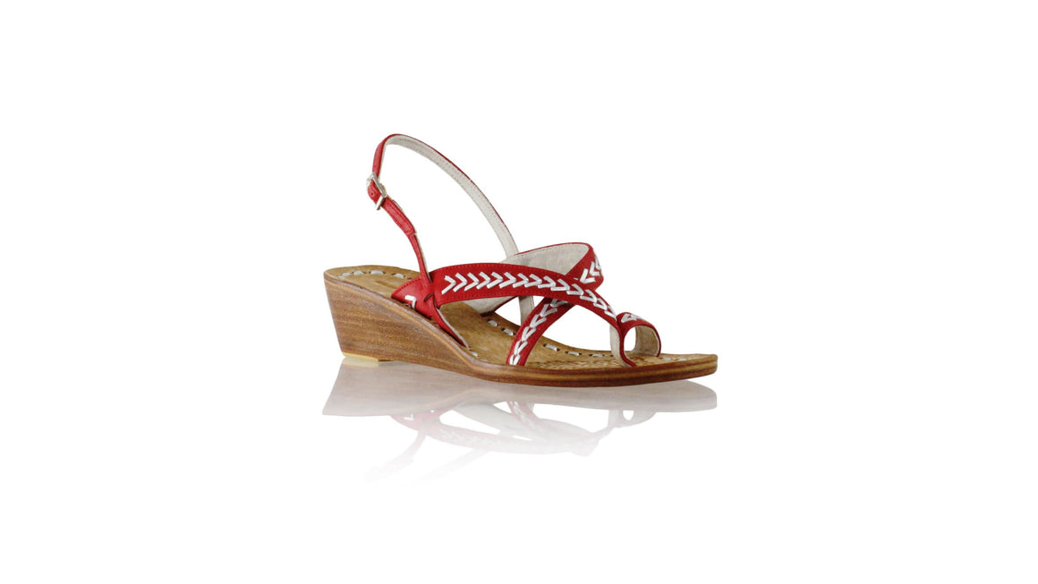 Leather-shoes-Romance with strap 35mm Wedges - Red & Silver-sandals wedges-NILUH DJELANTIK-NILUH DJELANTIK