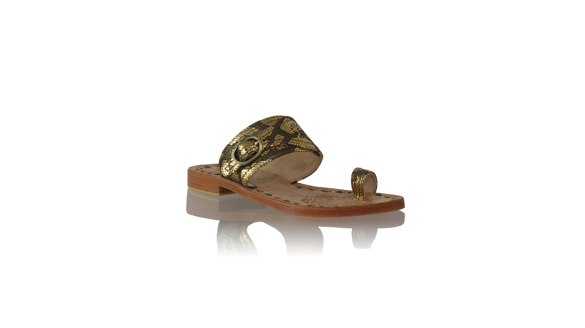 leather shoes Salma 20mm Flats - Black & Gold Snake Print, sandals flat , NILUH DJELANTIK - 1