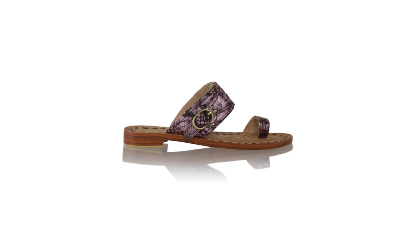 Leather-shoes-Salma 20mm Flat - Black & Purple Snake Print-sandals flat-NILUH DJELANTIK-NILUH DJELANTIK