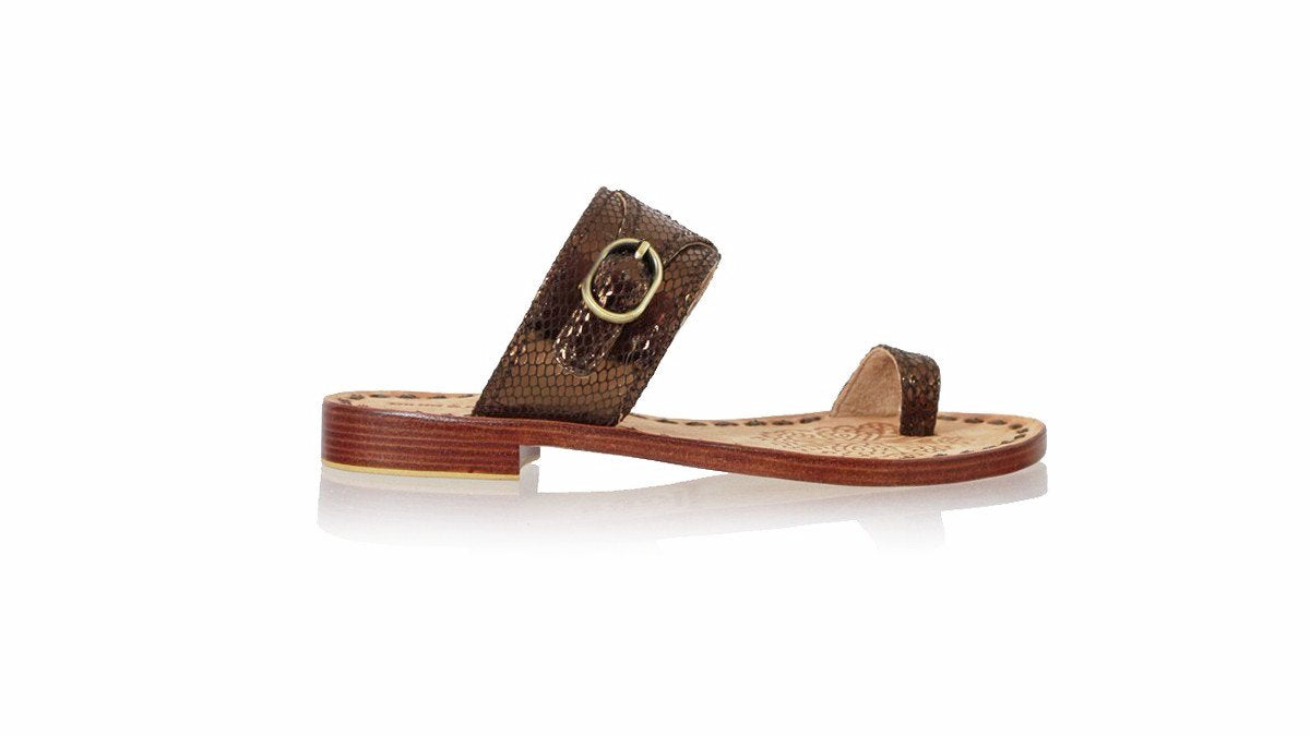 Leather-shoes-Salma 20mm Flat - Bronze Snake Print-sandals flat-NILUH DJELANTIK-NILUH DJELANTIK