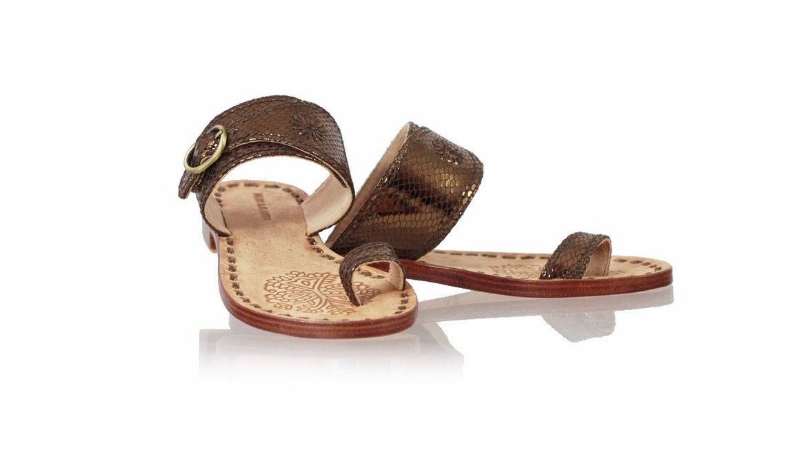 leather shoes Salma 20mm Flats - Bronze Snake Print, sandals flat , NILUH DJELANTIK - 1