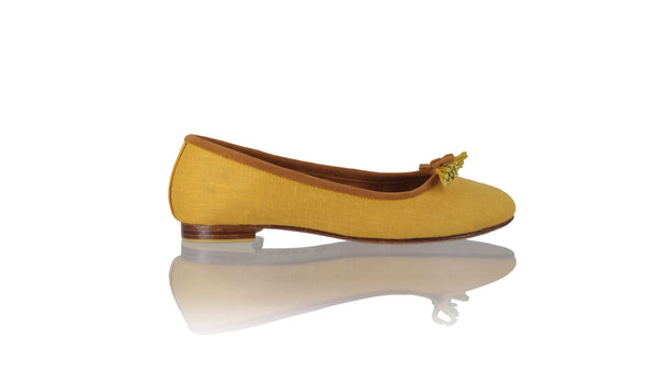 Leather-shoes-Sasha 20mm Ballet - Mustard Linen-flats ballet-NILUH DJELANTIK-NILUH DJELANTIK
