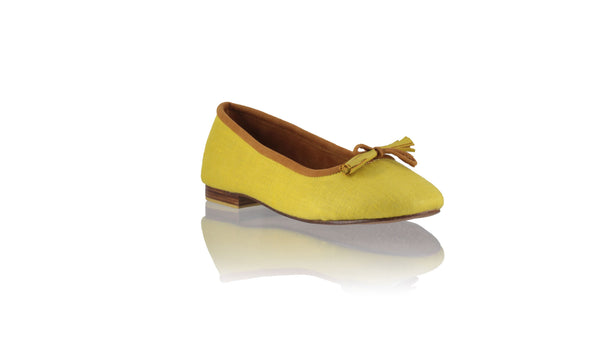 Leather-shoes-Sasha 20mm Ballet - Yellow Lime Linen-flats ballet-NILUH DJELANTIK-NILUH DJELANTIK