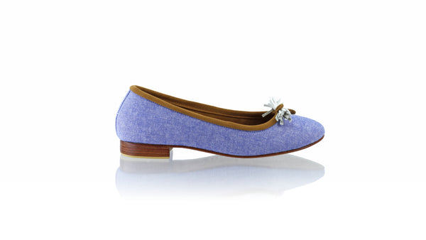 Leather-shoes-Sasha 20mm Ballet - Blue Linen-flats ballet-NILUH DJELANTIK-NILUH DJELANTIK