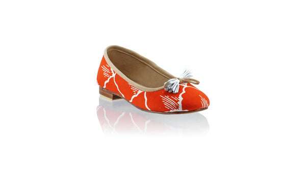 Leather-shoes-Sasha 20mm Ballet - Orange Batik Motif Kerang-flats ballet-NILUH DJELANTIK-NILUH DJELANTIK