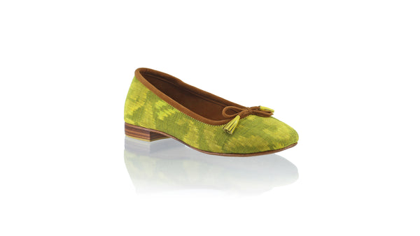 Leather-shoes-Sasha 20mm Ballet - Yellow Lime Ikat-flats ballet-NILUH DJELANTIK-NILUH DJELANTIK