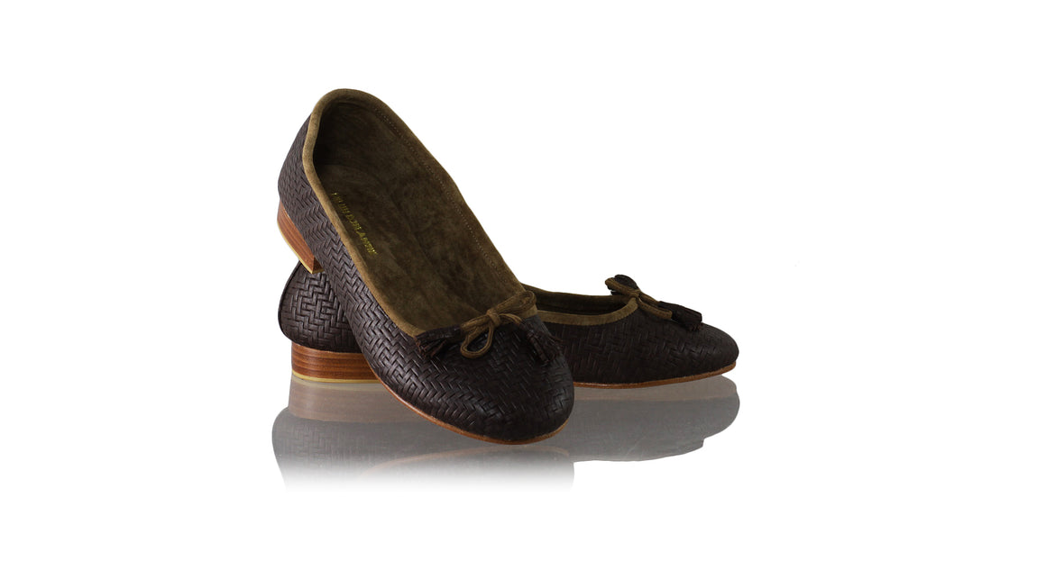 Leather-shoes-Sasha 20mm Ballet - Dark Brown Woven Print-flats ballet-NILUH DJELANTIK-NILUH DJELANTIK
