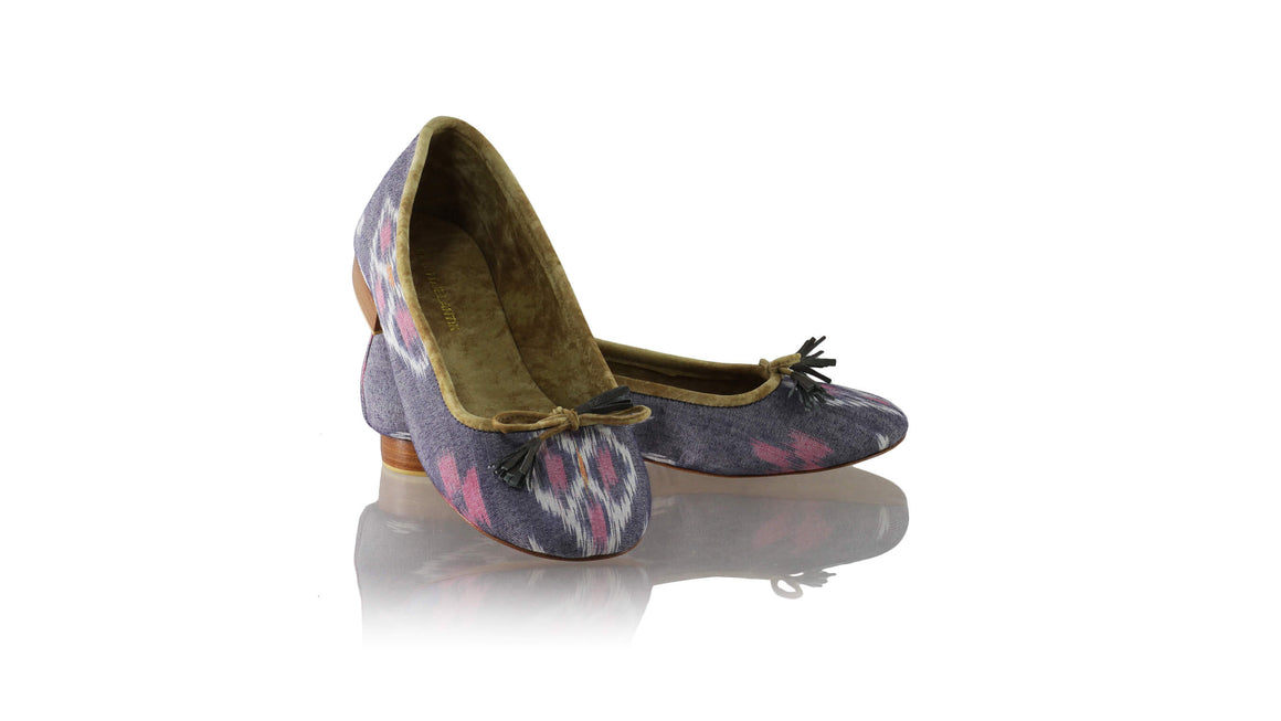 Leather-shoes-Sasha 20mm Ballet - Grey & Pink Handwoven Ikat-flats ballet-NILUH DJELANTIK-NILUH DJELANTIK