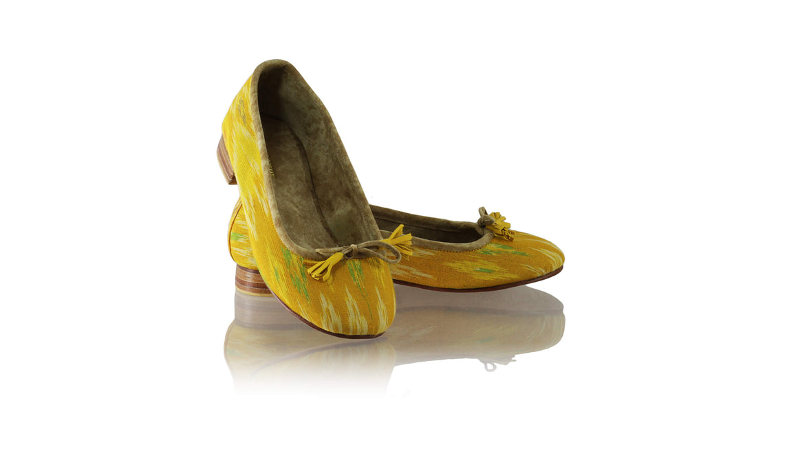 Leather-shoes-Sasha 20mm Ballet - Mustard Yellow & Green Handwoven Ikat-flats ballet-NILUH DJELANTIK-NILUH DJELANTIK