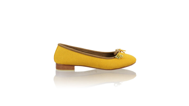 Leather-shoes-Sasha 20mm Ballet - Yellow Linen-flats ballet-NILUH DJELANTIK-NILUH DJELANTIK
