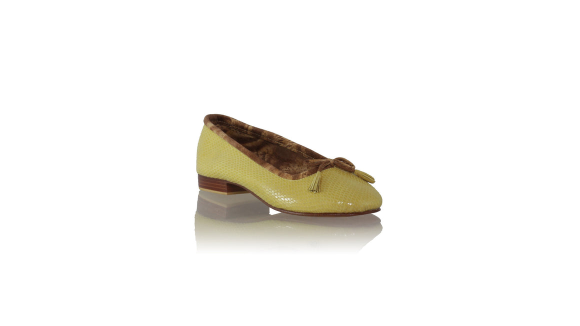 leather shoes Sasha 20mm Ballet - Yellow Snake Print, flats ballet , NILUH DJELANTIK - 1