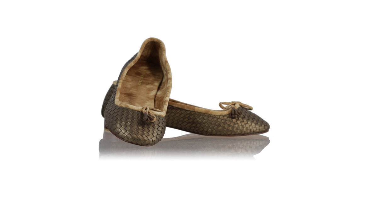leather shoes Sasha Woven Ballet 20mm - Bronze, flats ballet , NILUH DJELANTIK - 1