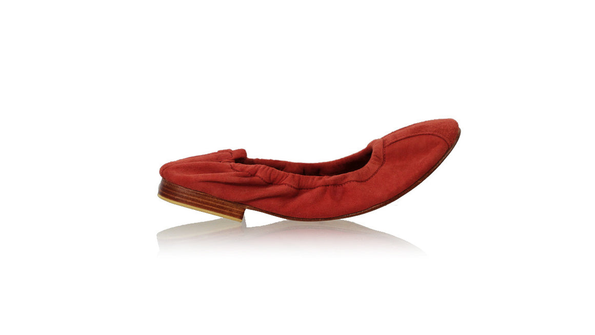 leather shoes Saskia 20mm Ballet - Coral Suede, flats ballet , NILUH DJELANTIK - 1