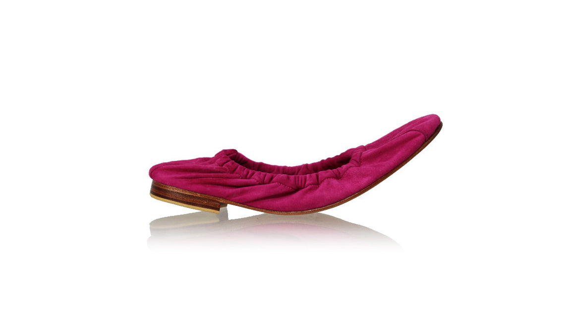 leather shoes Saskia 20mm Ballet - Fuschia Suede, flats ballet , NILUH DJELANTIK - 1