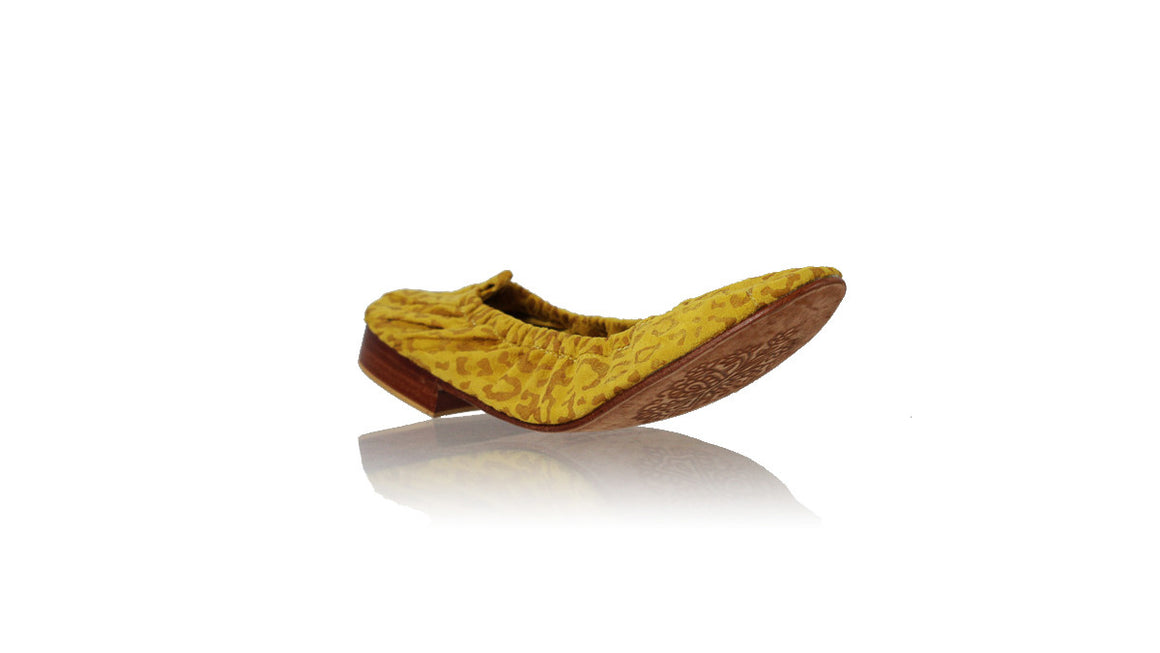 leather shoes Saskia 20mm Ballet - Yellow Suede Leopard Print, flats ballet , NILUH DJELANTIK - 1