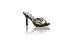 Leather-shoes-Shenoa 90mm SH-01 PF - Black & Gold-sandals midheel-NILUH DJELANTIK-NILUH DJELANTIK