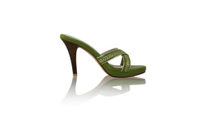 Leather-shoes-Shenoa PF 115MM SH - Deep Lime Green & Silver-sandals higheel-NILUH DJELANTIK-NILUH DJELANTIK