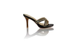 Leather-shoes-Shenoa 90mm SH PF-01 - Black & Gold-sandals midheel-NILUH DJELANTIK-NILUH DJELANTIK