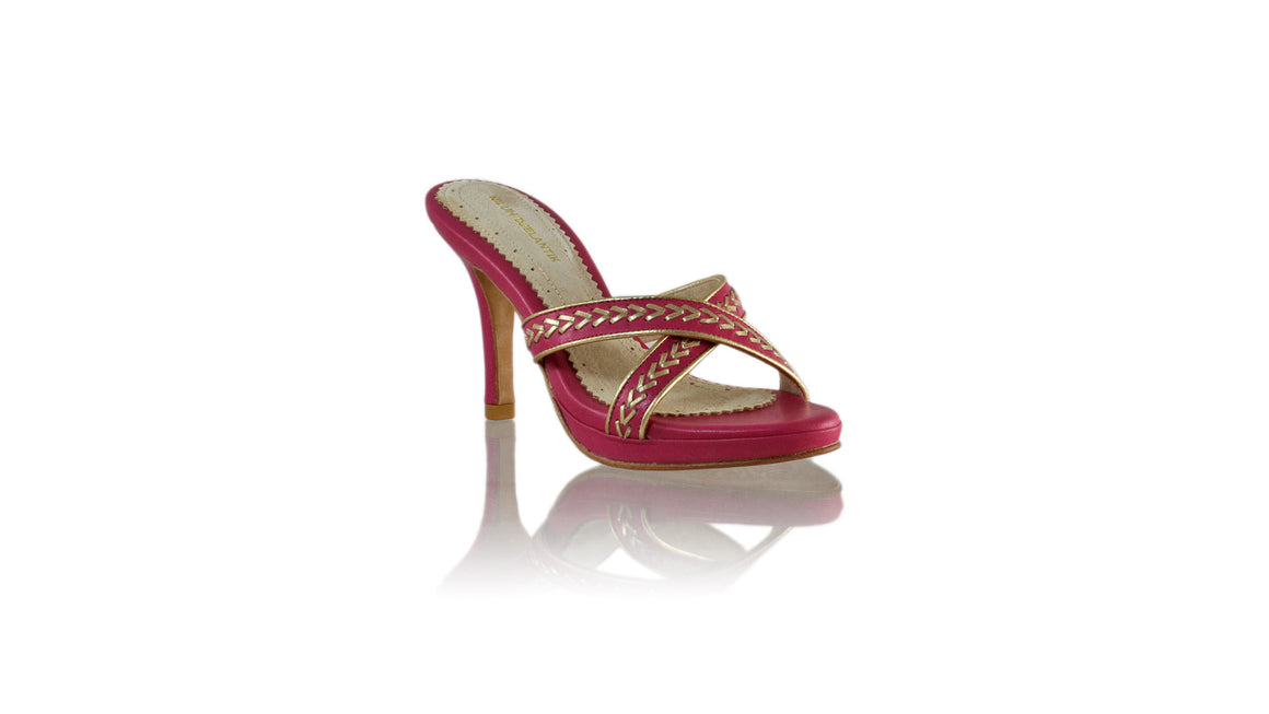 Leather-shoes-Shenoa 90mm SH PF-01 - Fuschia & Gold-sandals midheel-NILUH DJELANTIK-NILUH DJELANTIK
