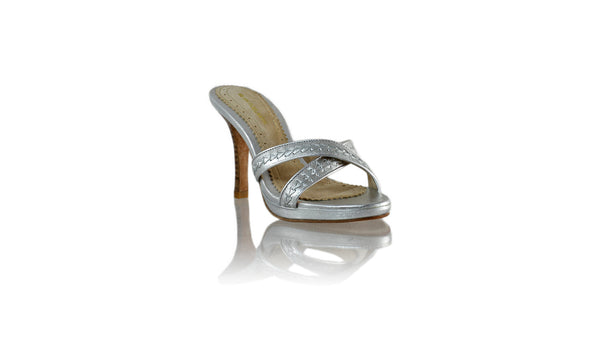 Leather-shoes-Shenoa 90mm SH PF - All Silver-sandals midheel-NILUH DJELANTIK-NILUH DJELANTIK