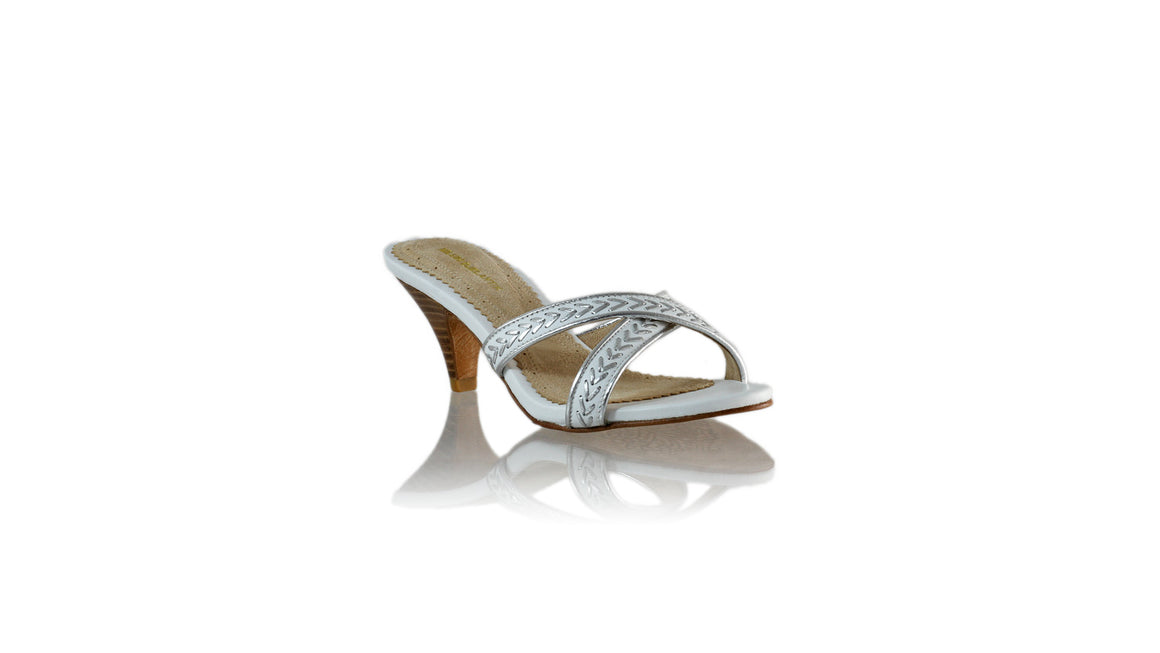 Leather-shoes-Shenoa SH 70mm - White & Silver-sandals midheel-NILUH DJELANTIK-NILUH DJELANTIK