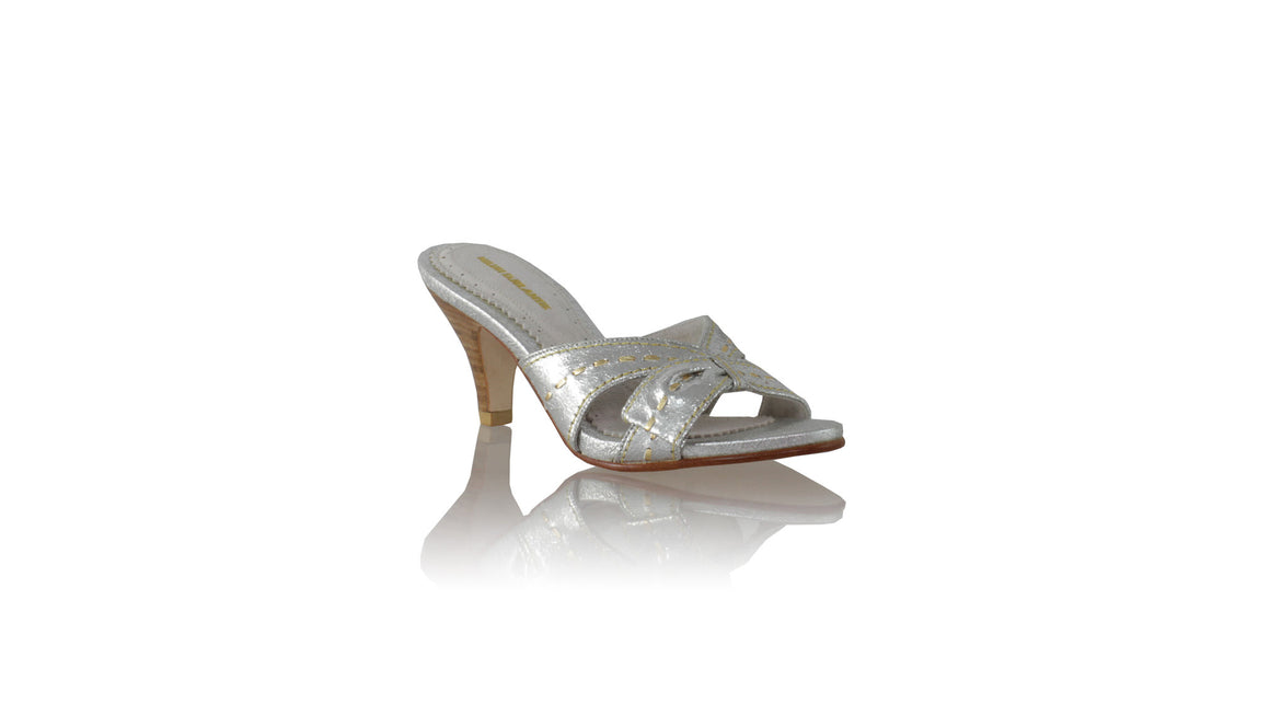 leather shoes Sri 70mm SH - Silver Cracking & Gold, sandals midheel , NILUH DJELANTIK - 1