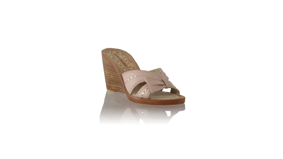 leather shoes Sri 80mm Wedges - Baby Pink & Gold, sandals wedges , NILUH DJELANTIK - 1