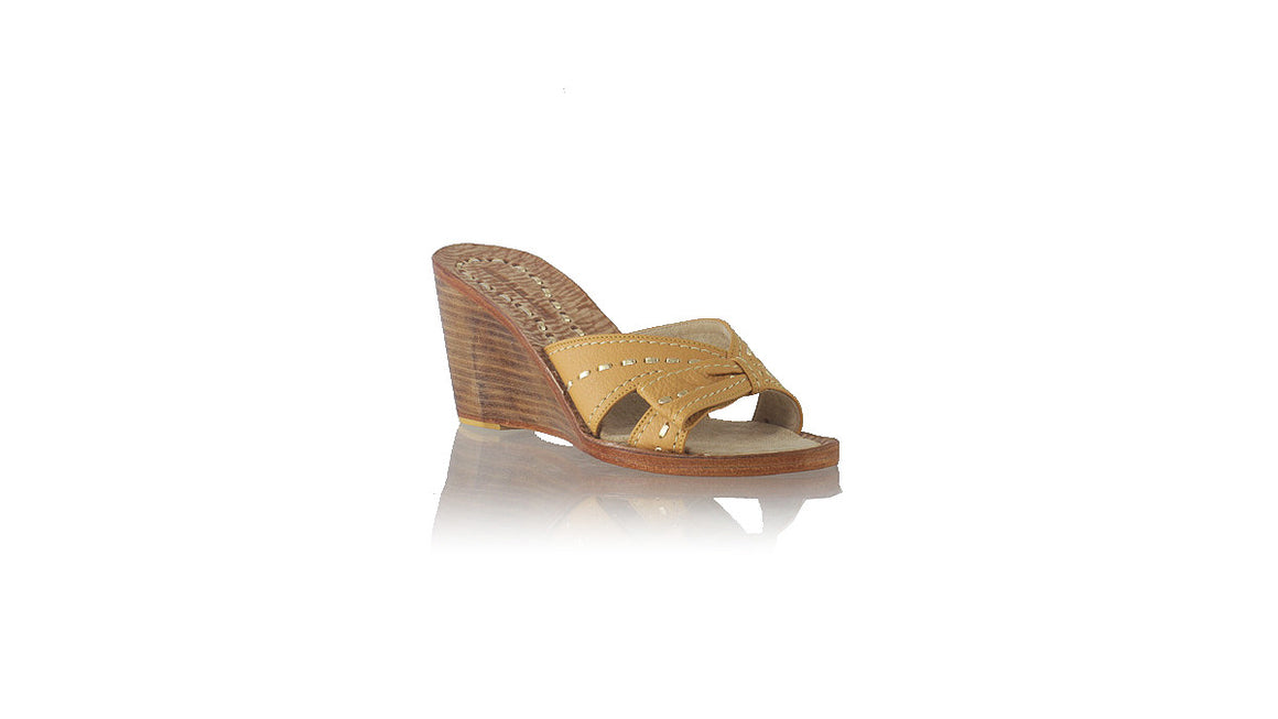 leather shoes Sri 80mm Wedges - Camel & Gold, sandals wedges , NILUH DJELANTIK - 1
