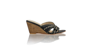 Leather-shoes-Sri Wedges 80mm - Black & Gold-sandals wedges-NILUH DJELANTIK-NILUH DJELANTIK