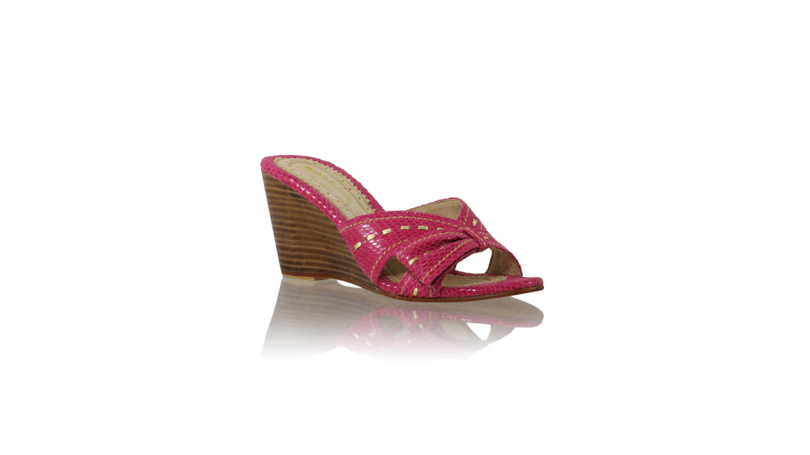 Leather-shoes-Sri wedges 80mm - Fuschia Snake Print & Gold-sandals wedges-NILUH DJELANTIK-NILUH DJELANTIK