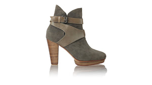 leather shoes Strap Boot PF 115mm WH - Cocoa Suede, boots highheel , NILUH DJELANTIK - 1
