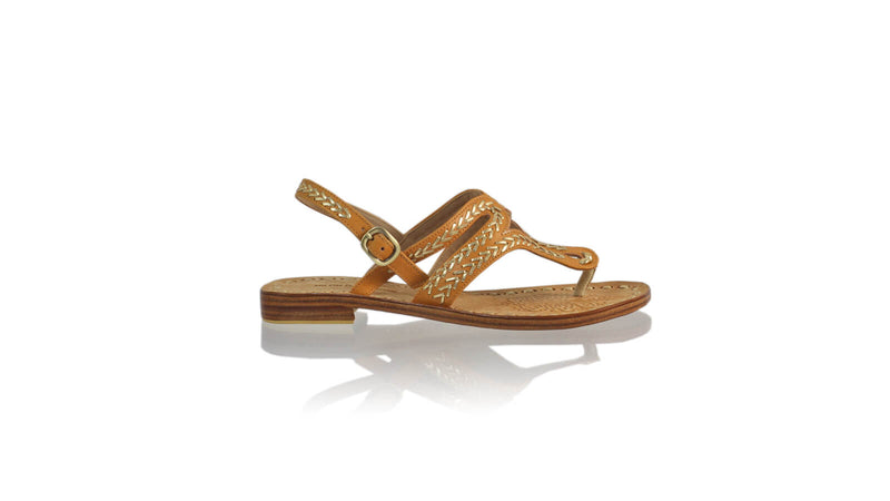 Leather-shoes-Emma 20mm Flat - Camel & Gold-sandals flat-NILUH DJELANTIK-NILUH DJELANTIK