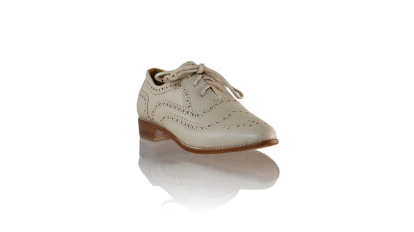 Leather-shoes-Pedro 25mm Flat - Cream Faux Leather-flats laceup-NILUH DJELANTIK-NILUH DJELANTIK