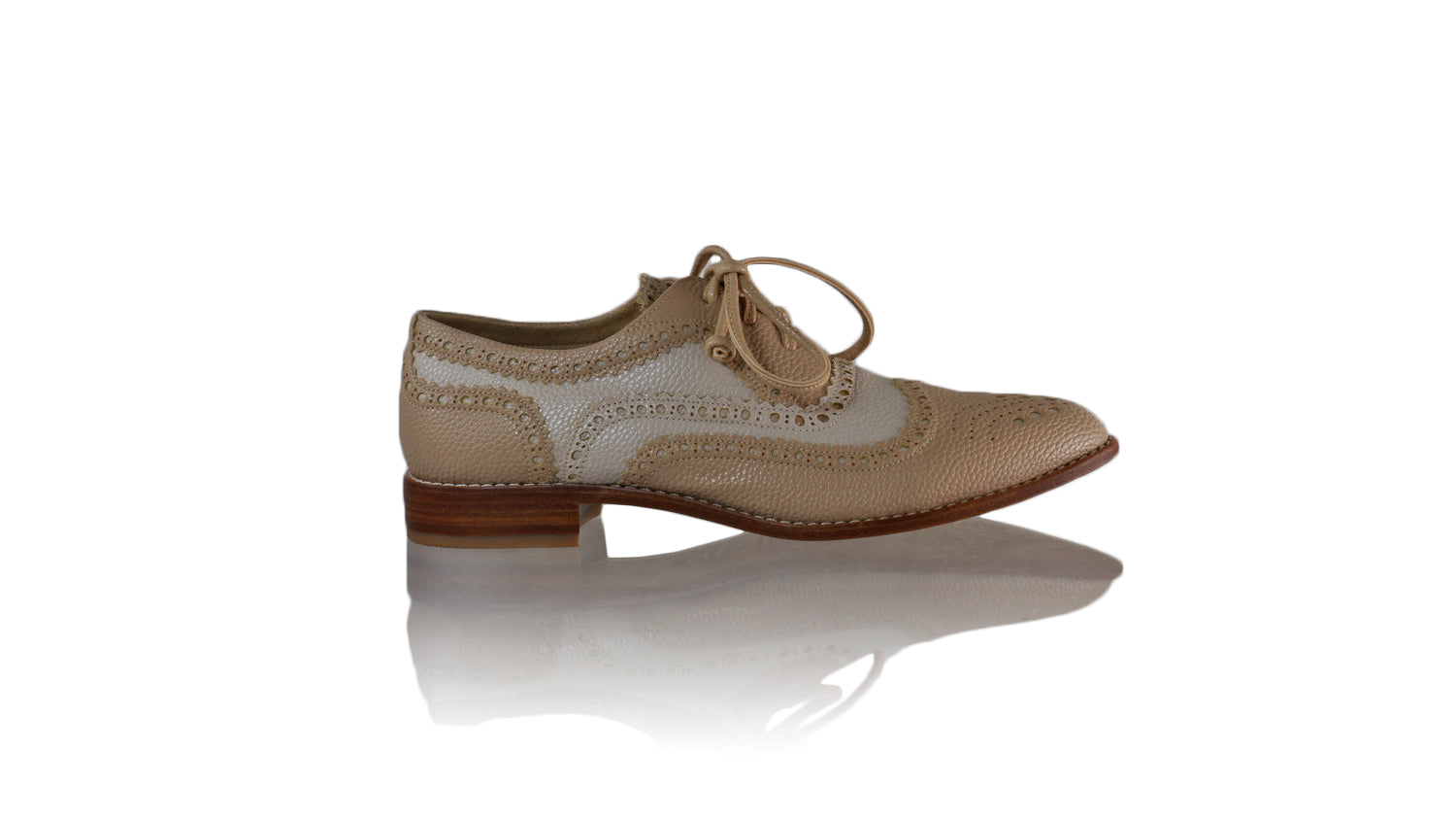 Leather-shoes-Pedro 25mm Flat - Nude & Cream Faux Leather-flats laceup-NILUH DJELANTIK-NILUH DJELANTIK