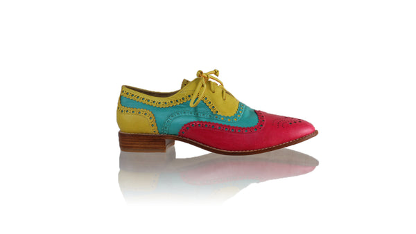 Leather-shoes-Pedro 25mm Flat - Fuschia - Aqua & Yellow-flats laceup-NILUH DJELANTIK-NILUH DJELANTIK