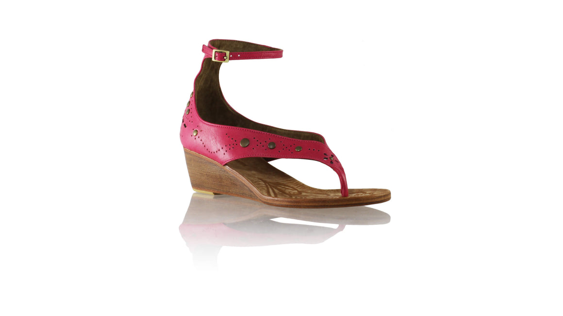 Leather-shoes-Miranda 35mm Wedges - Fuschia 1-sandals wedges-NILUH DJELANTIK-NILUH DJELANTIK