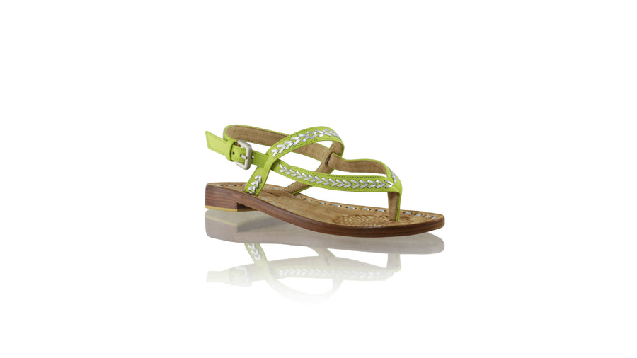 Leather-shoes-Papua 20mm Flat - Lime Green & Silver-sandals flat-NILUH DJELANTIK-NILUH DJELANTIK