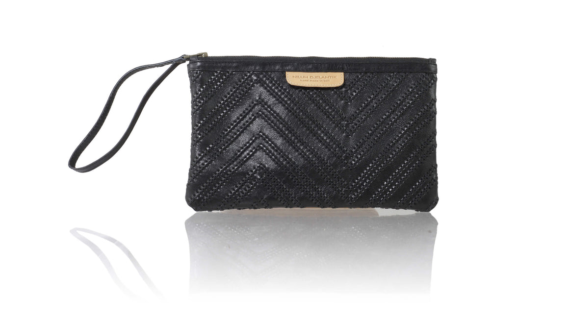 Leather-shoes-Clutch 14 x 23 - Black Woven Tali-Zipper Clutch-NILUH DJELANTIK-NILUH DJELANTIK