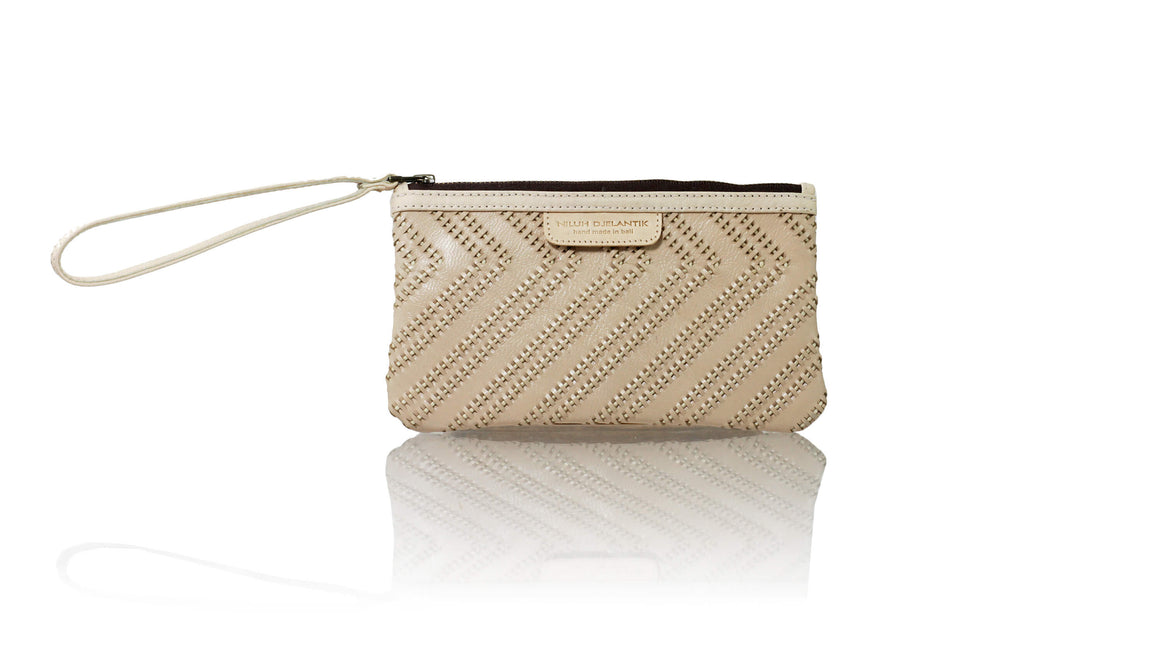 Leather-shoes-Clutch 11 x 19 - Cream Woven Tali-Zipper Clutch-NILUH DJELANTIK-NILUH DJELANTIK