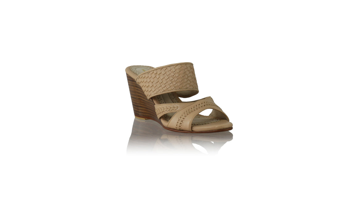 Leather-shoes-Happy Woven Sirsan Without Strap 80mm Wedges - Baby Pink-sandals wedges-NILUH DJELANTIK-NILUH DJELANTIK