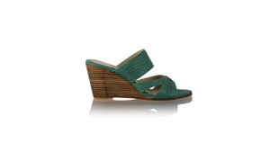 Leather-shoes-Happy Woven Sirsan Without Strap 80mm Wedges - Emerald-sandals wedges-NILUH DJELANTIK-NILUH DJELANTIK
