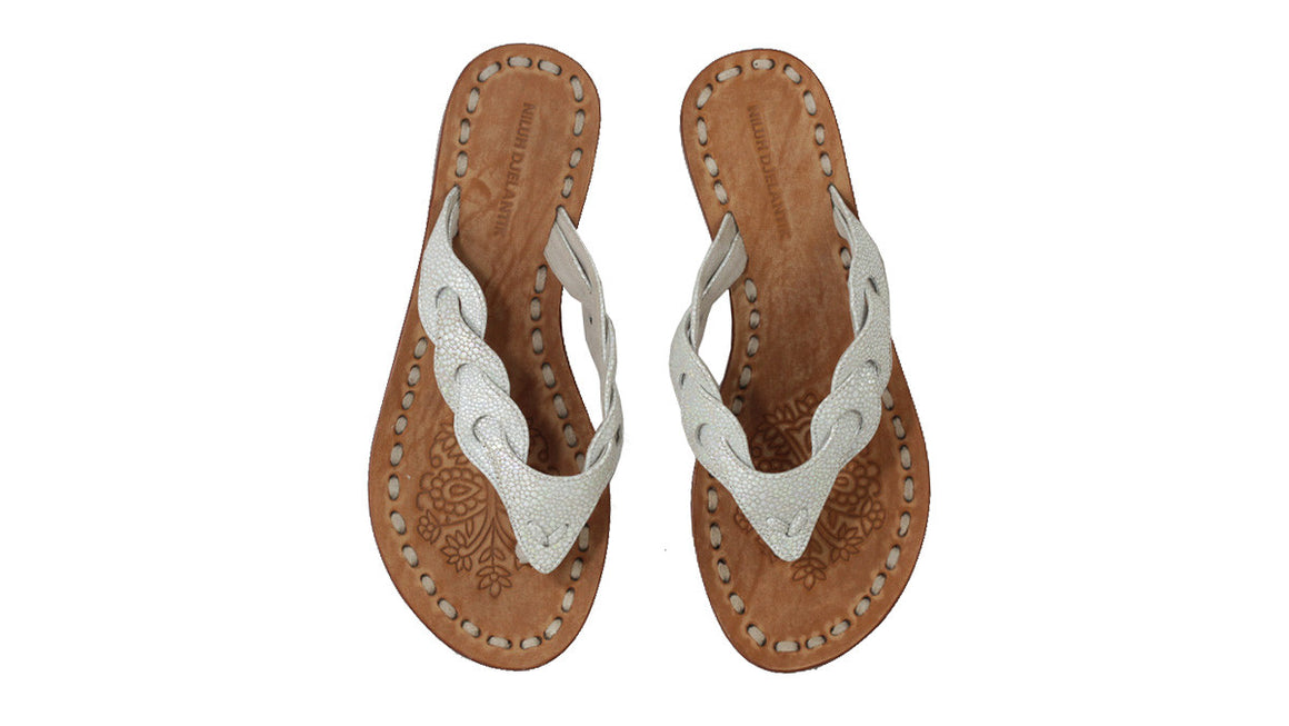 leather shoes Jhonny Thong 20mm - Stingray Pattern Silver White, sandals flat , NILUH DJELANTIK - 1