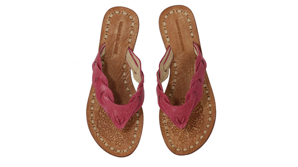 Leather-shoes-Jhonny Thong 20mm Flat - Stingray pattern Red-sandals flat-NILUH DJELANTIK-NILUH DJELANTIK