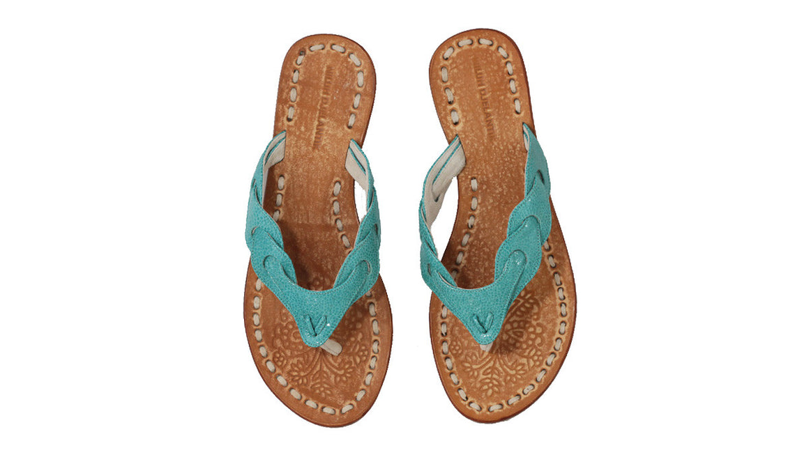 leather shoes Jhonny Thong 20mm - Stingray pattern Emerald, sandals flat , NILUH DJELANTIK - 1