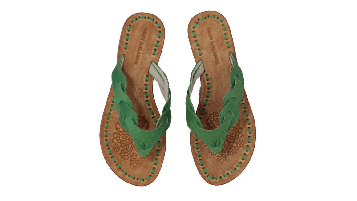 leather shoes Jhonny Thong 20mm - Green, sandals flat , NILUH DJELANTIK - 1