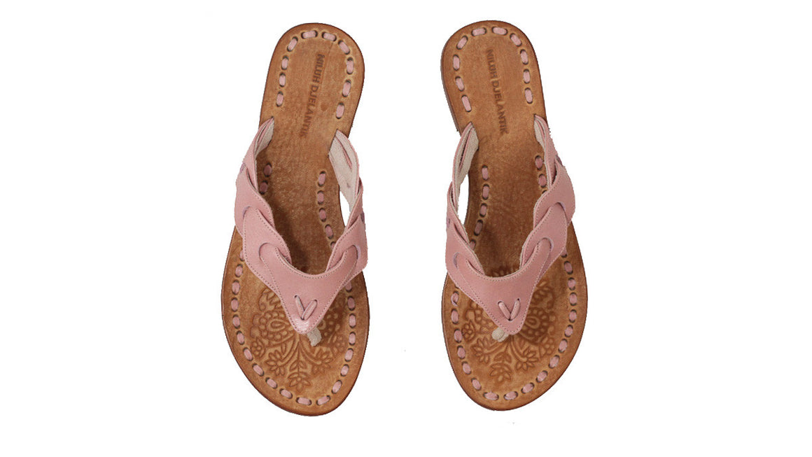 leather shoes Jhonny Thong 20mm - Pink Vintage, sandals flat , NILUH DJELANTIK - 1