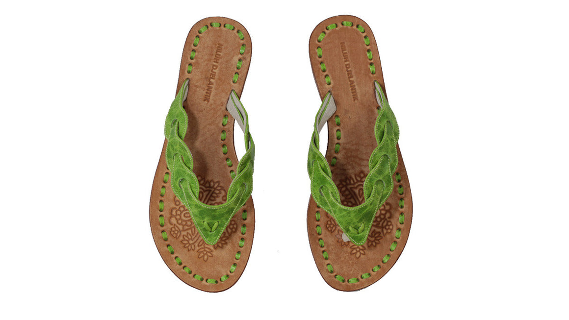 leather shoes Jhonny Thong 20mm - Green vintage, sandals flat , NILUH DJELANTIK - 1