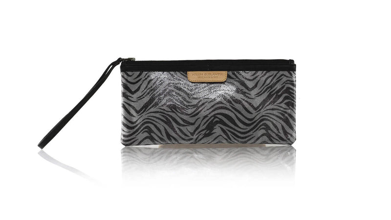 Leather-shoes-Clutch 11x23 - Grey Metallic Zebra Print Faux leather-Zipper Clutch-NILUH DJELANTIK-NILUH DJELANTIK
