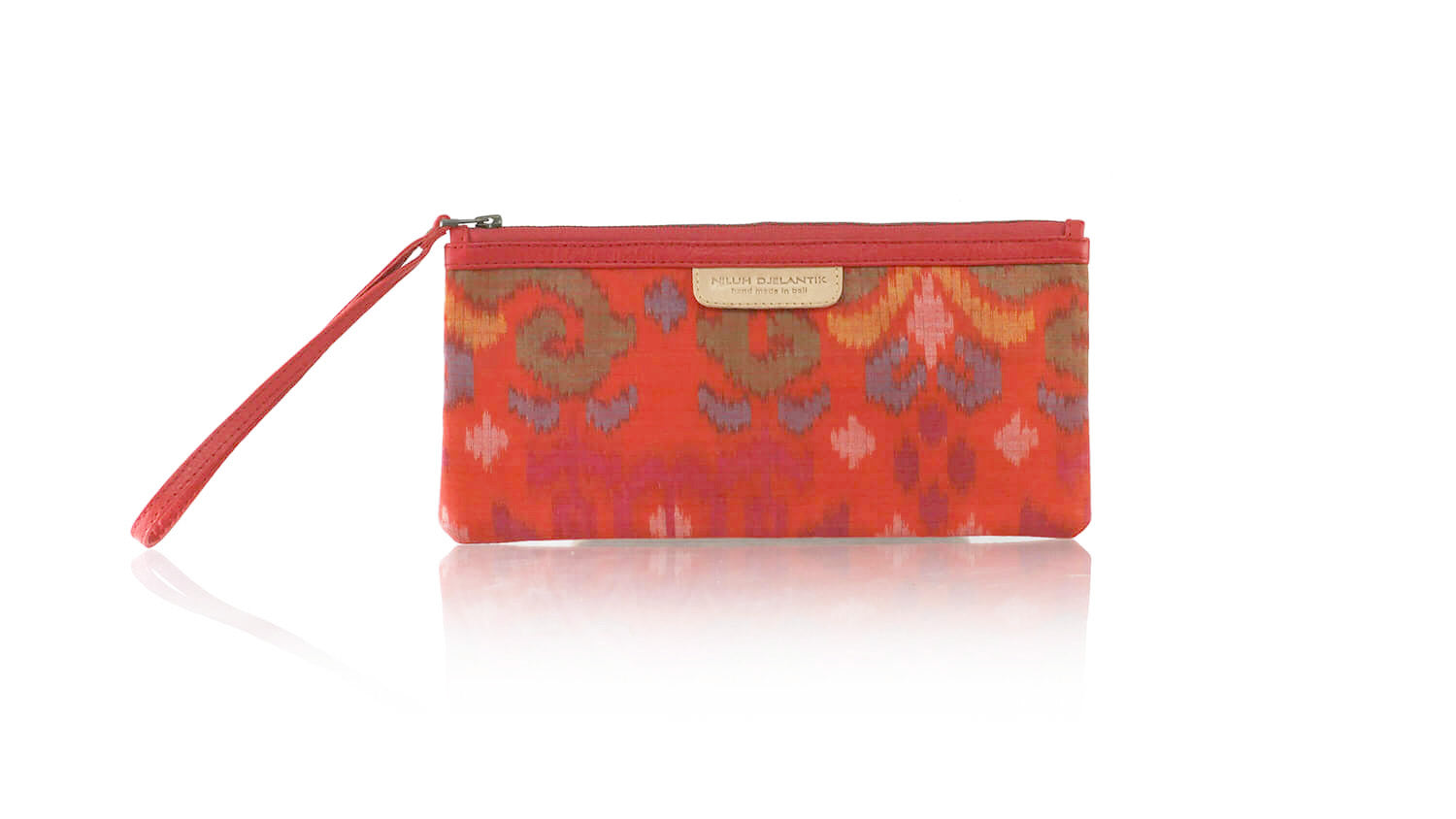 Leather-shoes-Clutch 11x23 - Light orange Handwoven Ikat-Zipper Clutch-NILUH DJELANTIK-NILUH DJELANTIK